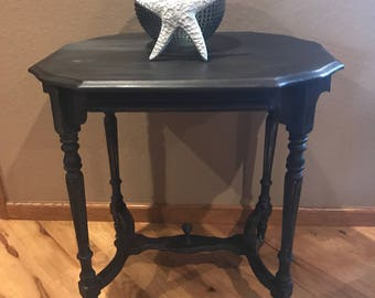 Vintage Table Painted in Graphite Distressed Cottage Victorian