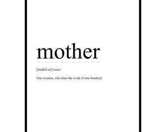 MOTHER Definition Art: Mother Print, Mother Definition Print, Minimalist Definition Art, Printable Mother Art, Funny Mother Definition Art