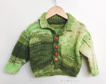 Kids Green Mix Hand Knit Cardigan