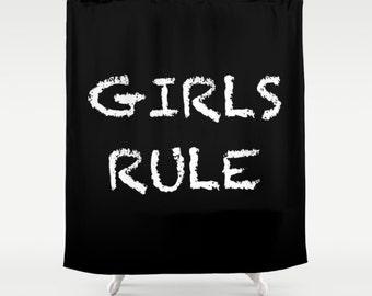 Girls Rule, Kids Shower Curtain, Girls Bathroom Decor, Inspirational, Black and White, Fabric Shower Curtain, Standard or Long Bath Curtain