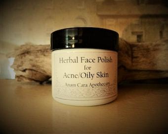Herbal Face Polish For Acne/Oily Skin 2 oz.  Herbal Acne Treatment, Natural Acne Scrub, Oily Skin Mask, Herbal Scrub, Herbal Mask, Acne
