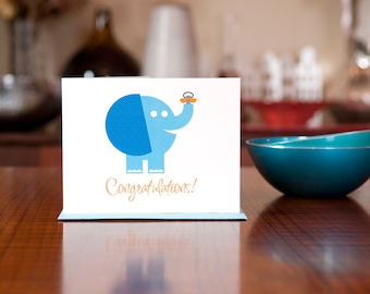 Pachyderm Pacifier - Aqua Blue Elephant New Baby Card on 100% Recycled Paper