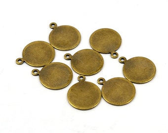 100 Pcs. Antique Brass 13 mm Round Stamping Blanks Findings