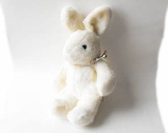 1980s Classic White Rabbit Easter Bunny Hop Vintage Mervyns March Hare Alice in Wonderland Tea Party Pal Stuffed Animal Plush Cottontail Toy