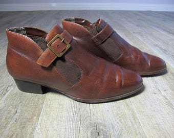 Vintage Buckle Brown Leather Ankle Boots  EU39 UK6