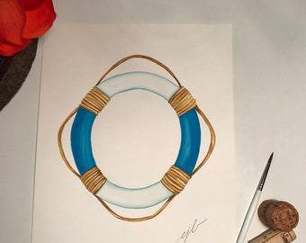 """Blue lifesaver. An original watercolor painting on 90 lb. cold press paper. Size 9""""x 12"""" signed on front."""