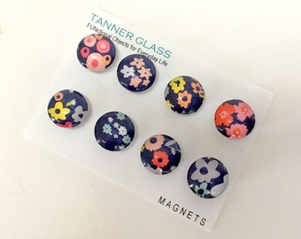 NEW Garden Party - set of 8 glass magnets - fun and colorful floral designs