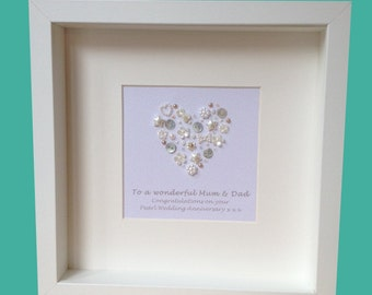 30th Pearl Wedding Anniversary - personalised gift - celebrating 30 years of marriage - choose your wording
