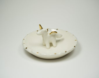 Porcelain Pegacorn Ring Dish Accented with Real Gold