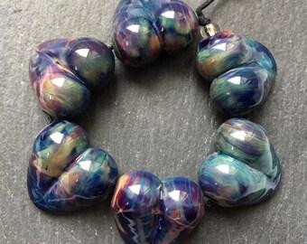 Lampwork Bead Set, Purple Green Blue, Multicolor, Hearts by Beadfairy