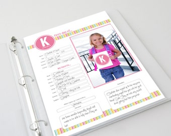 First Day of School Memories Scrapbook Pages, Photo Cards & Book Cover (Pastel and Primary Color Schemes)