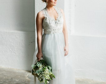 CLEARANCE Sample Sale Pale Ice Blue Lace and Tulle  Gown  -Extreme Clearance on an Editorial Sample 80% off