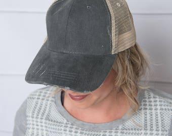 Denim trucker Hat, womens hat, levi distressed hat, denim hat, tan hat, trucker hat for women, baseball cap, womens trucker hat, levi hat