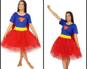 Superwoman  Adult Halloween Costume ~ Fancy Dress Cape  Costume  ~ Cosplay  Steampunk ~ Theatre Productions