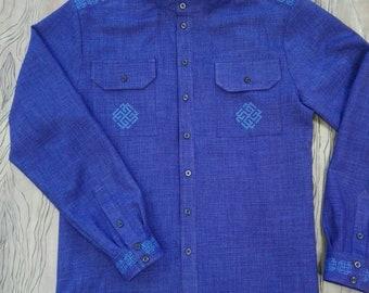 Blue linen shirt embroidered cossack shirt country older shirt russian orthodox shirt for church russian national shirt blue fabric shirt