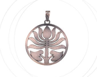 Large pendant red 71 x 64 mm, copper oval lotus flower, thickness 1,8 mm bail 16 x 11 mm, lead free nickel free