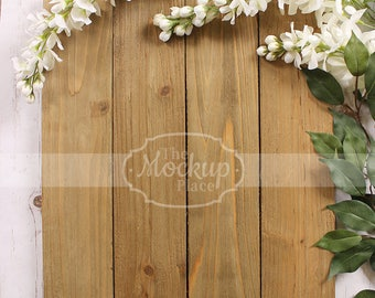 Vertical | Mockup | Brown Wood Sign | White blossom | Perfect for message
