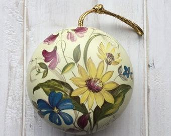 Vintage Yellow Floral Ye olde Ceramic Pomander Pot-Pourri Holder Decoration Retro Ornament 70s 80s