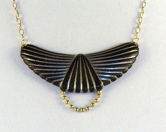 Halfmoon Pendant Necklace // Gold on Black // Art Deco // Boho Chic // Modish // Fashionable // Trendy
