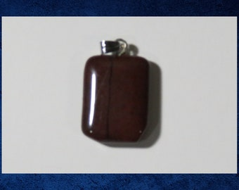 Jasper, Red - Small 15x20mm flat rectangle pendant with natural gemstone. #GPEN-423