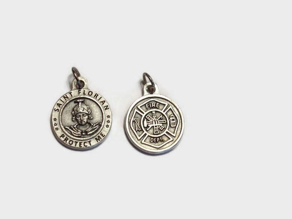 Saint Florian Fire Dept Medal with 18 or 24 Stainless Steel chain necklace