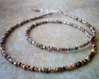 Unique Mixed Metal Necklace - Single Strand - Simple Rustic Necklace - Textured Single Strand - Birthday Gift Wife -  Boho Hippie Friend