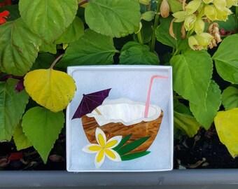Coconut heaven, lasercut acrylic brooch. Tiki