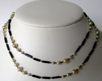 30-Inch Antique French Jet Bead & Glass Pearl Necklace