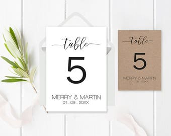 Wedding Table Number Card Template, Printable Table Number Card, Rustic Table Numbers, Calligraphy Table Numbers, 4x6, 5x7, Editable PDF
