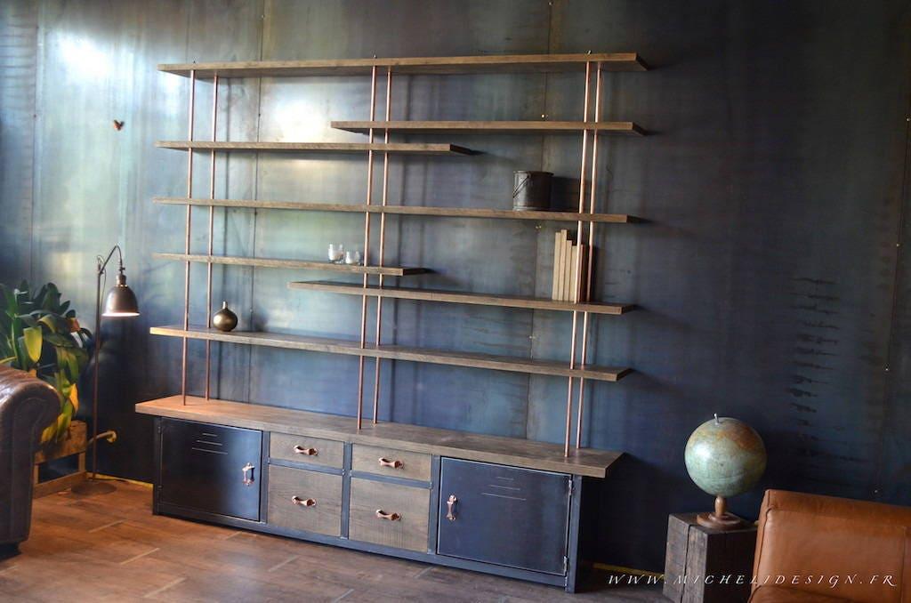 biblioth que contemporaine sur mesure bois m tal. Black Bedroom Furniture Sets. Home Design Ideas