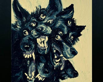 """Large canvas print, """"Cursed Wolf"""" Acrylic painting Reproduction artwork"""