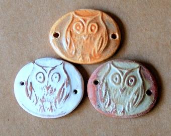 3 Handmade Ceramic Beads - Sweet Set of Bracelet Links - Folk Art Owl Beads - Stoneware Connectors - Handmade Supplies