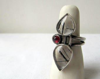 Diminished Chord - sterling silver black rutilated quartz ring, garnet and rutile quartz ring, unique artisan triple double gemstone ring