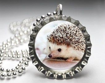 Cute Hedgehog Bottlecap Pendant Necklace Jewelry - Free Ball Chain