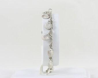 """Sterling Silver Sea Shell Link Bracelet 7"""" inch long"""