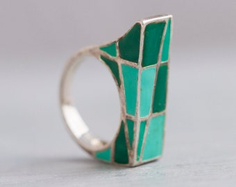 Chunky Brutalist Ring - Sterling Silver and Green Enamels in Geometric Shapes - Size 6.5 - Modern Boho Design