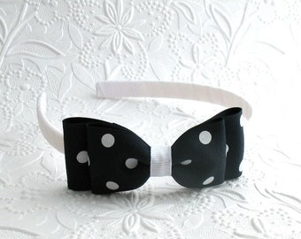 Girls Headband, Hard Headband, Navy Blue Polka Dot Hair Bow, Bow Headband, Toddler Headband, Big Girl Headband