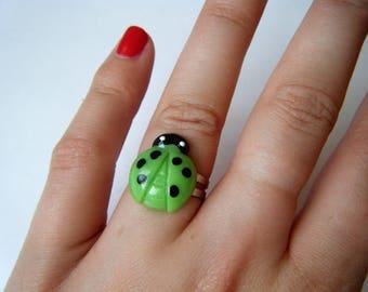 Ring - Green Ladybug