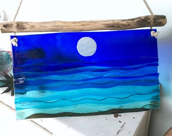 Moonshadow Custom Fused Glass and Wave Art with Driftwood