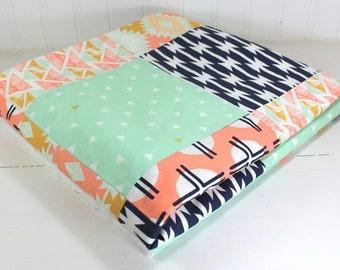 Baby Blanket, Nursery Decor, Minky Baby Blanket, Baby Shower Gift, Patchwork Quilt, Mint Green, Mint, Peach, Navy, Gold, Arizona, Aztec