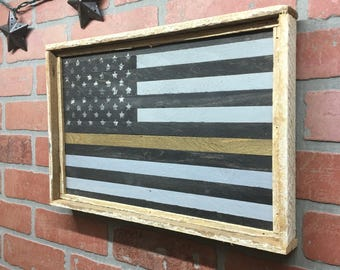 Thin Gold Line Flag, Emergency Dispatcher, Emergency Dispatcher Decor, Dispatcher, Dispatcher Gift, Firefrighter Gift, First Responder Gift