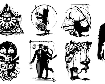 Prints of Will Pigg's Comics & Gaming Silhouette Paper cuts on 100lb Stipple Paper see listing for designs available