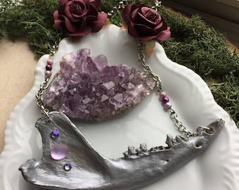 Fantasy Jawbone Necklace Jaw Bone Jewelery Bones Fairy Tale Skull Crystal Hand Painted Bone Necklace