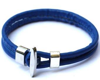 x 1 dark blue leather bracelet silver unisex clasp 20 cm