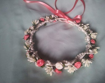 Ribbon rose flower crown, availabe most colours.
