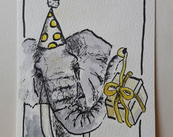 Hand-drawn greeting card elephant as a download