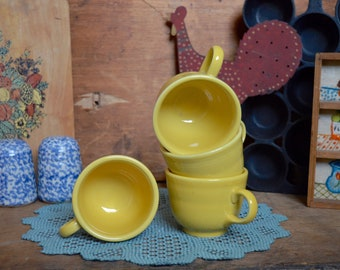 4 Vintage Retired Bright Yellow Fiesta Tea Cups Mugs Homer Laughlin Co. Set Fiestaware Primary Colors