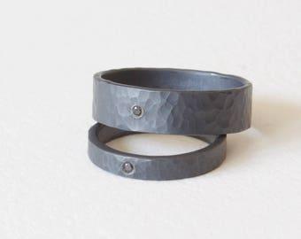 Hammered Sterling Silver Diamond Ring Set, Matching Ring Set, Oxidized Silver Ring, Black Diamond Ring Set, Wedding Band Set