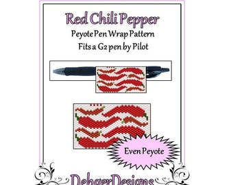 Bead Pattern Peyote(Pen Wrap/Cover)-Red Chili Pepper