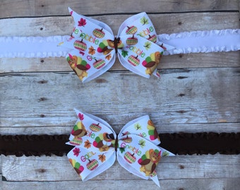 SALE! Thanksgiving Turkey Hair Bow // Baby Headband // Turkey // Toddler Clip // Thanksgiving Outfit // Thanksgiving Hair // Hair Bow Baby